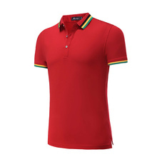 Red tshirt men polo Regular Solid Gentleman men t-shirt short sleeve cotton 10 colours Loose Hem Striped Neckline Shirt Men 6118