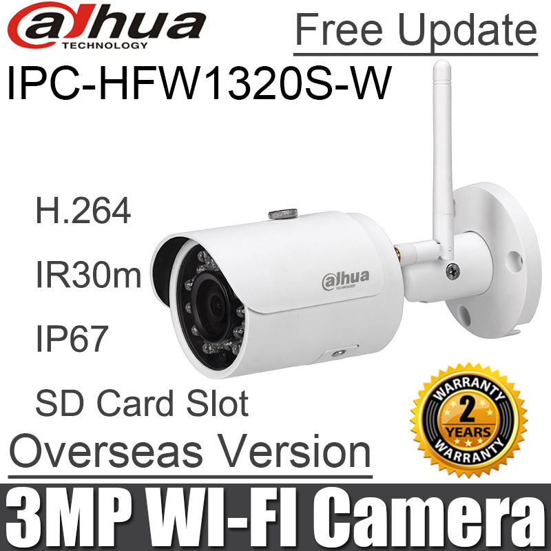 Original 3MP IPC HFW1320S W Wifi IP camera h.264 IR30M replace IPC HFW2325S W mini bullet waterproof Wireless SD Card Slot-in Surveillance Cameras from Security & Protection    1