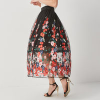 KENVY Brand Fashion Women High End Luxury Embroidery Flowers High Waist Lace Long Skirts