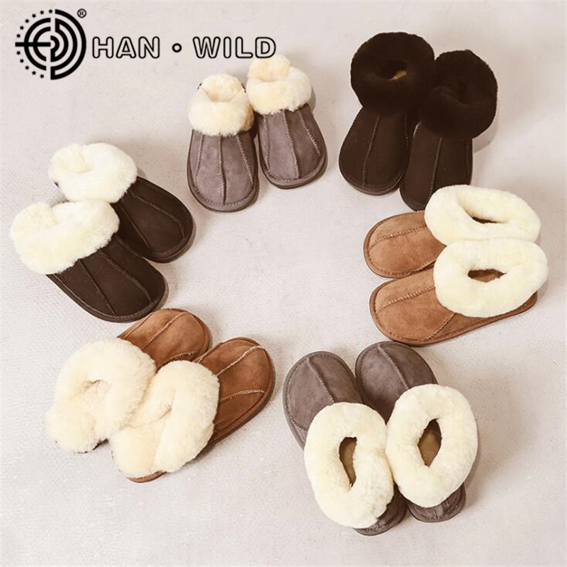 Female Winter Slippers 100% Genuine Leather Sheepskin Slippers Natural Fur Women Warm Indoor Shoes Soft Wool Lady House Slippers(China)