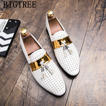 leather dress loafers men shoes tassel zapatos de hombre de