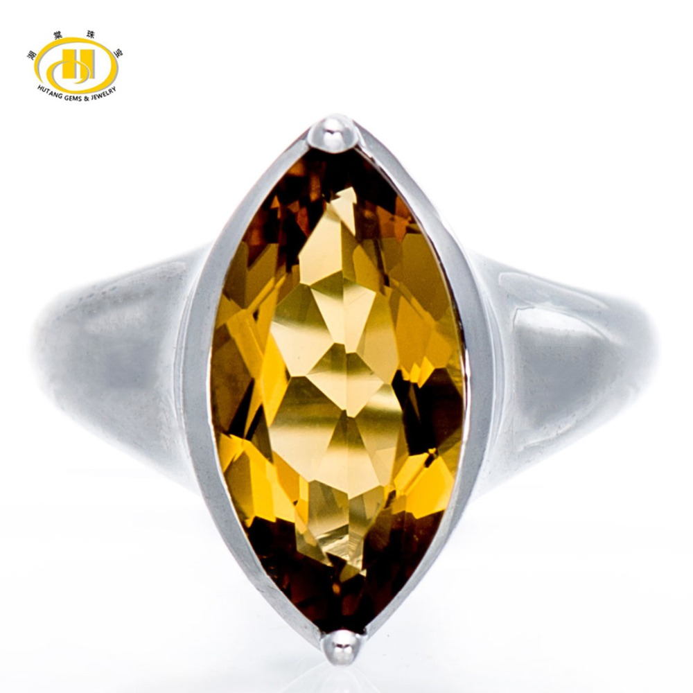 Hutang 3.50Ct Natural Champagne Quartz Gemstone Solid 925 Sterling Silver Ring Fine Jewelry Women Wholeasle Mother