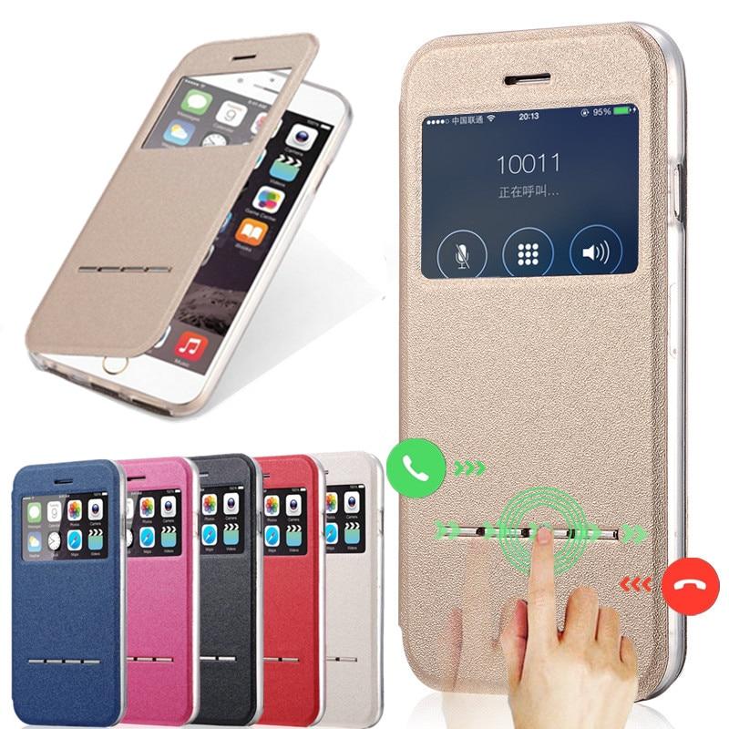Luxur Zobrazit okno PU kůže + TPU pouzdro pro iPhone 6 6S 4,7 palce příslušenství telefonu Flip Stand Clear Back Cover Coque