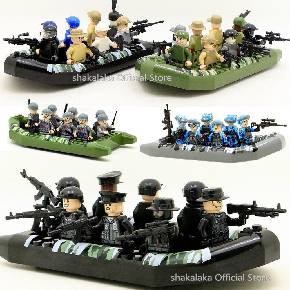 Soldats En Caoutchouc Canot Camouflage Gonflable Bateau Armée MILITAIRE Guerre SWAT Modèle Building Blocks Figures Jouet Éducatif Cadeau Garçons