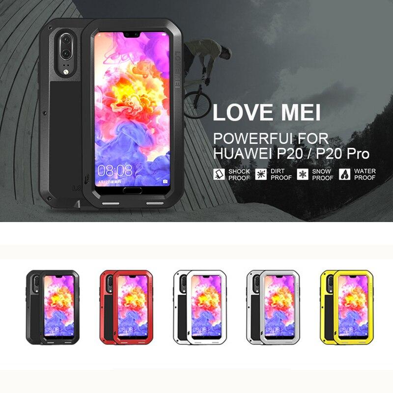 LOVE MEI Puissant En Métal Étanche étui pour huawei P20/P20 Pro Complet Couverture Arrière En Aluminium Antichoc Defender coque de téléphone