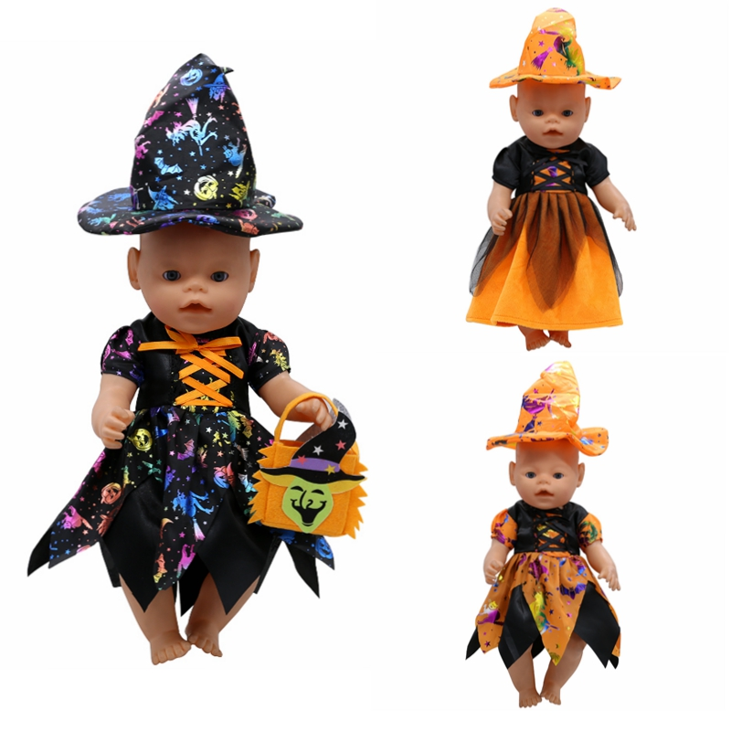 Baby Doll Clothes Cute Halloween Witch Dress Fit 43cm Zapf Baby 16-18 inch Doll Accessories Children Birthday Gifts T1 american girl doll clothes halloween witch dress cosplay costume for 16 18 inches doll alexander dress doll accessories x 68