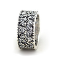 Pandulaso Shimmering Leaves Silver Rings for Women & Men Clear CZ Crystal Rings Wedding 925 Sterling Silver Jewelry Fine Rings