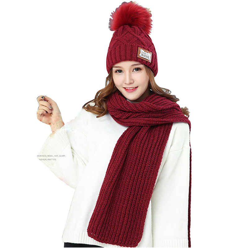 New Women Girl Winter wear warm Accesory pom pom Hat  /& scarf set many COLORS