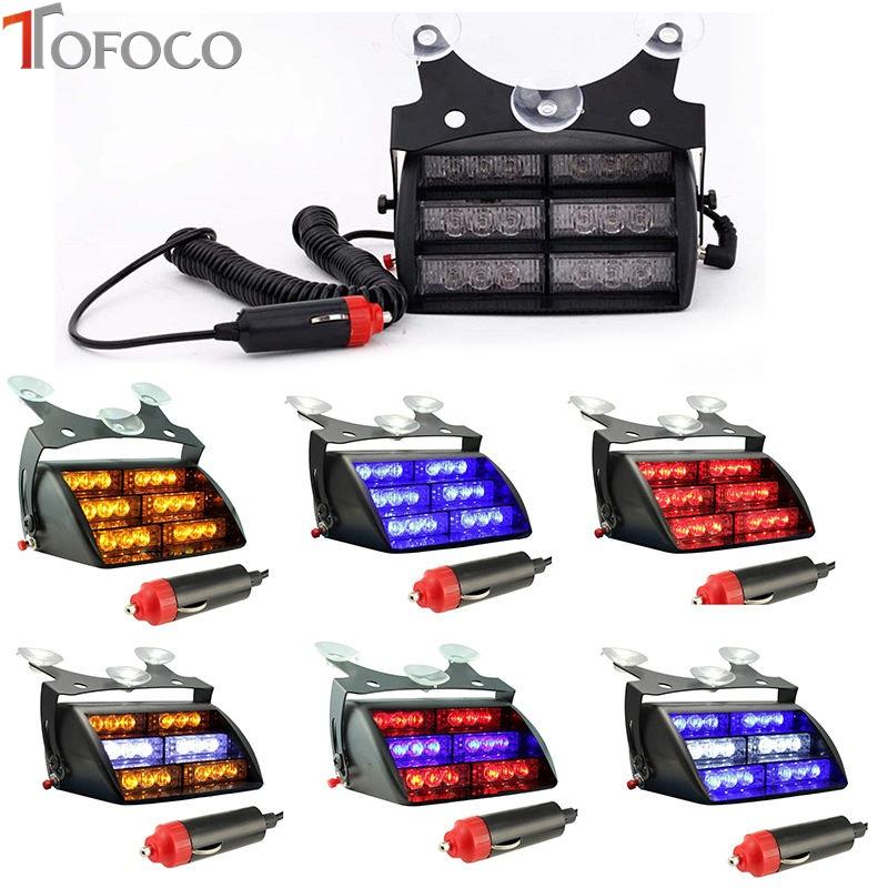 Prix pour TOFOCO 18 Led D'urgence Police Véhicule Lumières Stroboscopiques Bonnettes Tableau de Bord Flash Warning pour Camion Ambulance SUV