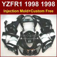 Flat black motorcycle fairings kit for YAMAHA 1998 1999 YZFR1 YZF R1 YZF1000 98 99 fairing parts W36U