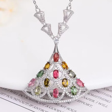 gemstone fine jewelry factory wholesale 925 sterling silver natural colorful tourmaline charm necklace pendant for women