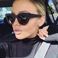 HUHAITANG Vintage Cat Eye Sunglasses Women Luxury Brand Cateye Sunglass Womens Fashion Designer Blue Sun Glasses For Woman 2019