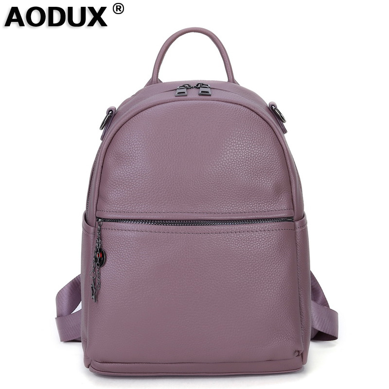 100% Genuine Leather Women Backpack Real First Layer Cow Leather Ladies' Backpacks Travel ipad Cowhide Female Bags-in Backpacks from Luggage & Bags    1