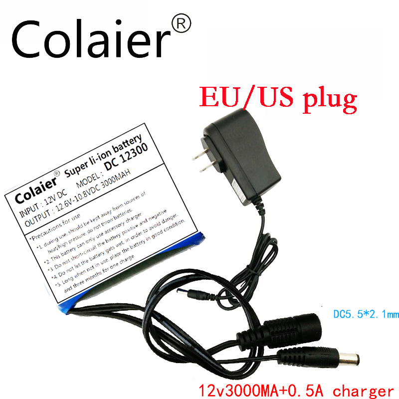 Colaier DC 12V 3000mAh Li ion 18650 rechargeable battery 12V 3a battery pack + 2V0.5A charger cctv camera