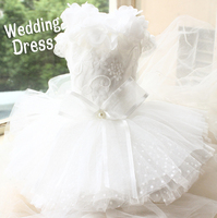 Free Shipping Advanced Customization Luxury Dog Wedding Dress White 3D Flowers Collar Princess Clothes Twelve Layer