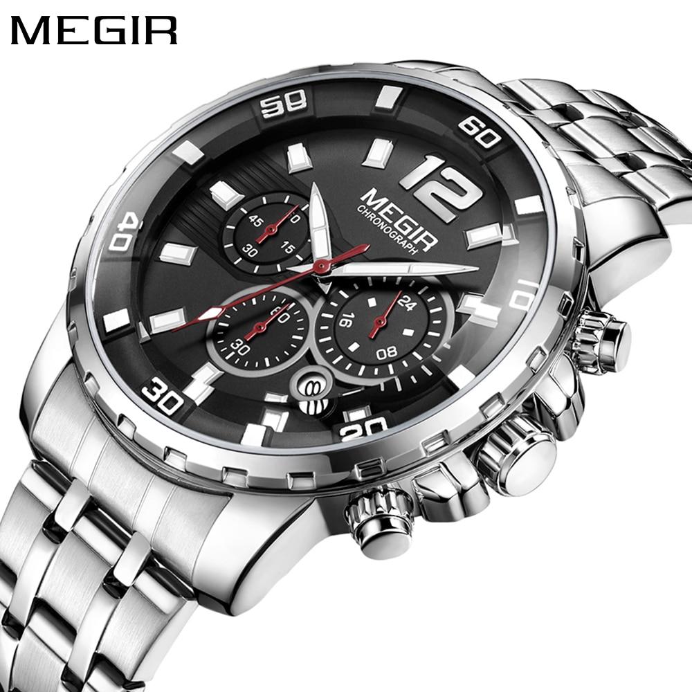 Megir New Business Watch Luxurymen Big Dila Chronograph Quartz Sport Watch Men Steel Mens Wrist Watches Mens Militray Clock Man