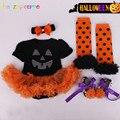 4Piece/0-12Months/Halloween Pumpkin Cute Newborn Bodysuit+Shoes+Headband+Socks Infant Tutu Dress Baby Girls Clothing Sets BC1311
