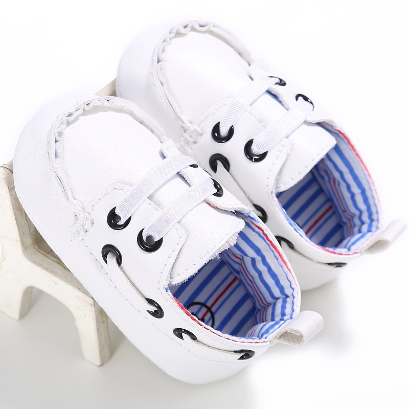 Fashion Personality Baby Boys Girls PU First Walker Toddlers Kids Lace-up Shoes
