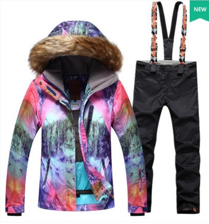 Womens black ski suit female violet fur collar cycling climbing snow ski jacket and black ski pants winter outdoor sports suit толстовка сноубордическая shweyka fur hoodie turquoise violet