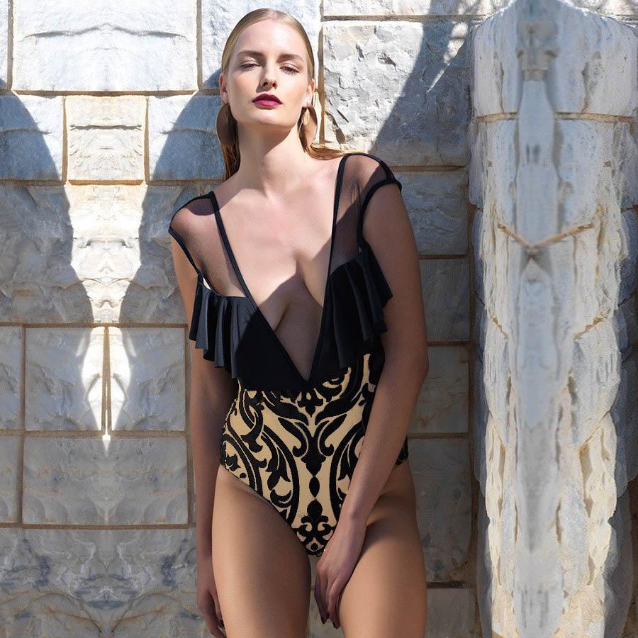 Women's Clothing 2019 Sexy Women Swimwear Ethnic Printed One-piece Swimsuit Beachwear Bikini Mesh Sheer Patchwork Vintage Bodysuit Bathing Suits