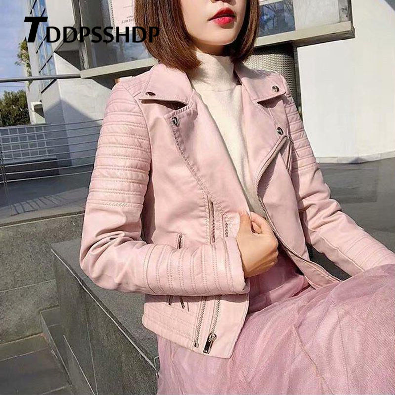 Shoulder and Waist with Stripe Engraving Women Pu   Leather   Coat 2019 New High Street Female Jacket