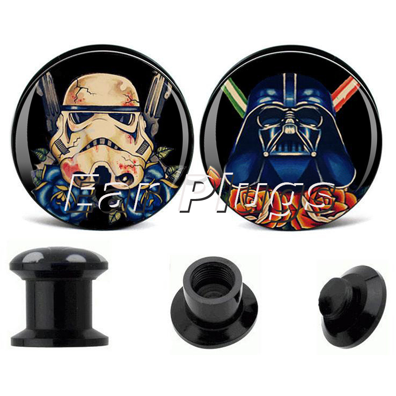 Wholesale 60pcs star wars acrylic screw fit flesh tunnel ear plug gauges expander stretchers