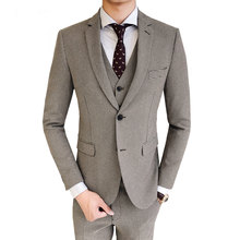 2019 Men Groom Wedding 3-Pieces Dress Suits(Blazer+Vest+Pants) Male Casual Fashion Boutique Slim Fit Houndstooth Formal Suits(China)