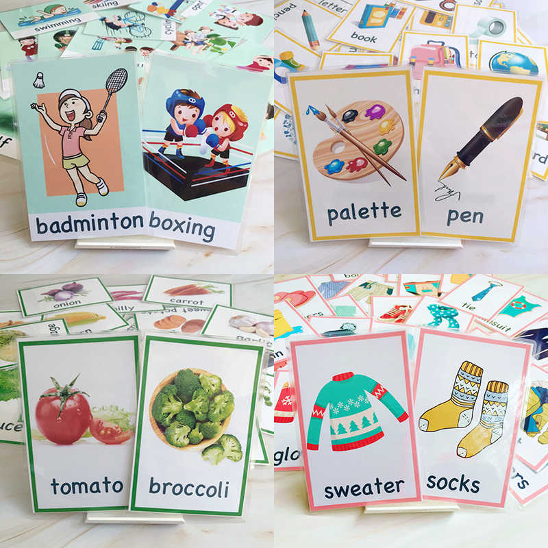 91Pcs/Set Sports/Stationery/Vegetables/Clothing Montessori Educativos Children Learning English FlashCards Baby Educational Card
