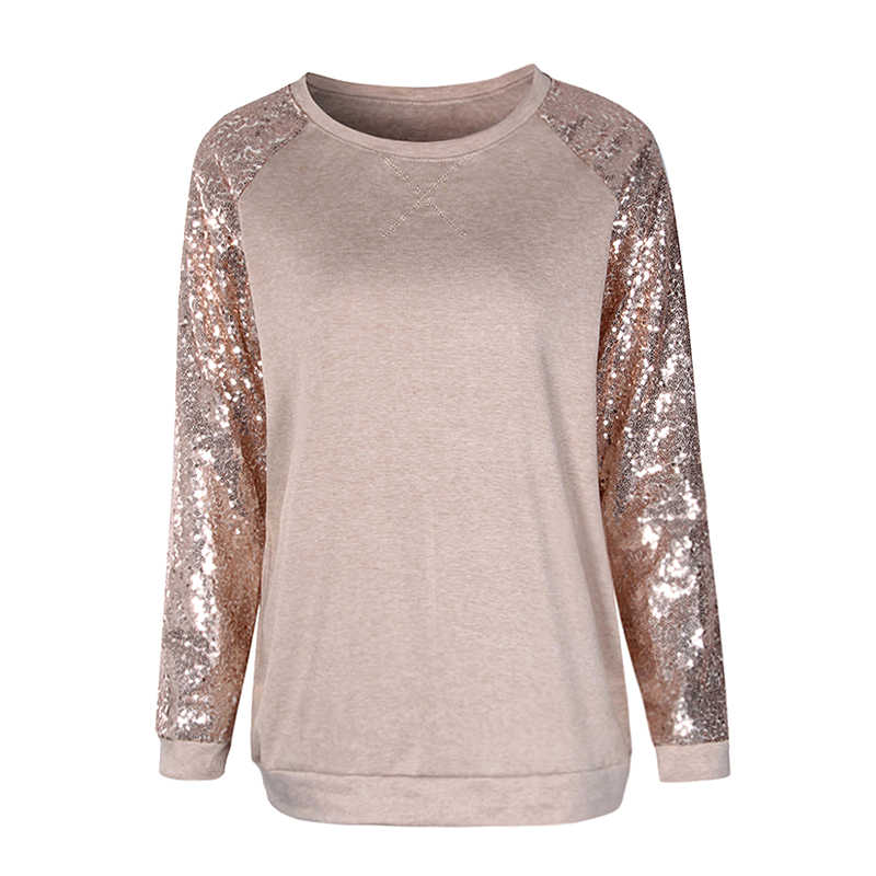Women T-Shirts Sequined T Shirt Long Sleeve T-Shirt Casual Loose Patchwork O c21b5340ea3d