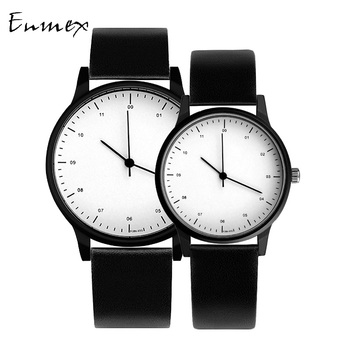 gift Enmex cool couple watch wristwatch Brief vogue simple stylish Genuine leather band casual quartz  fashion lover's watch jis flash light couple quartz watch with leather band