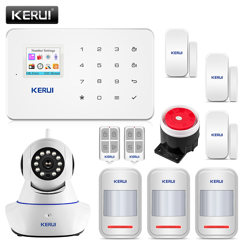 Kerui G18 Home Security Alarm System 80dB Alarme Maison Sans Fil Francais GSM Burglar Alarm Suit APP Control Alarme Residencial-in Alarm System Kits from Security & Protection