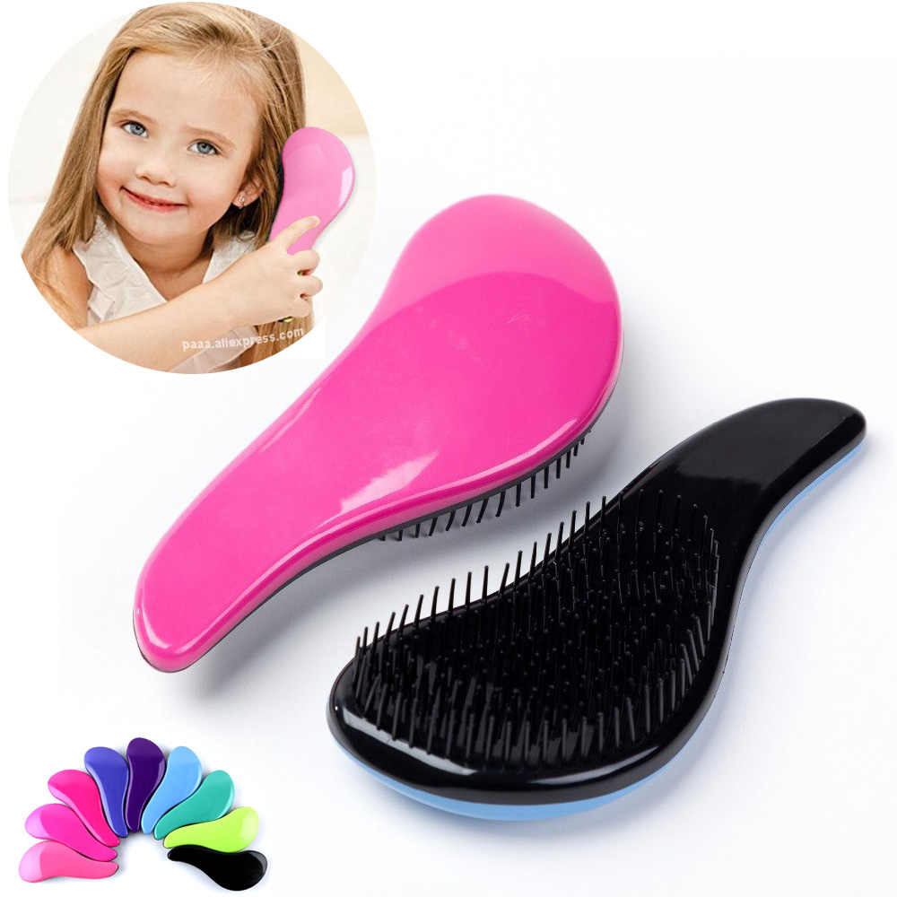 Dziecko dzieci i kobiety szczotka do rozczesywania włosów grzebienie Salon delikatna antystatyczna szczotka plątanina mokre suche włosie uchwyt plątanina kręcone