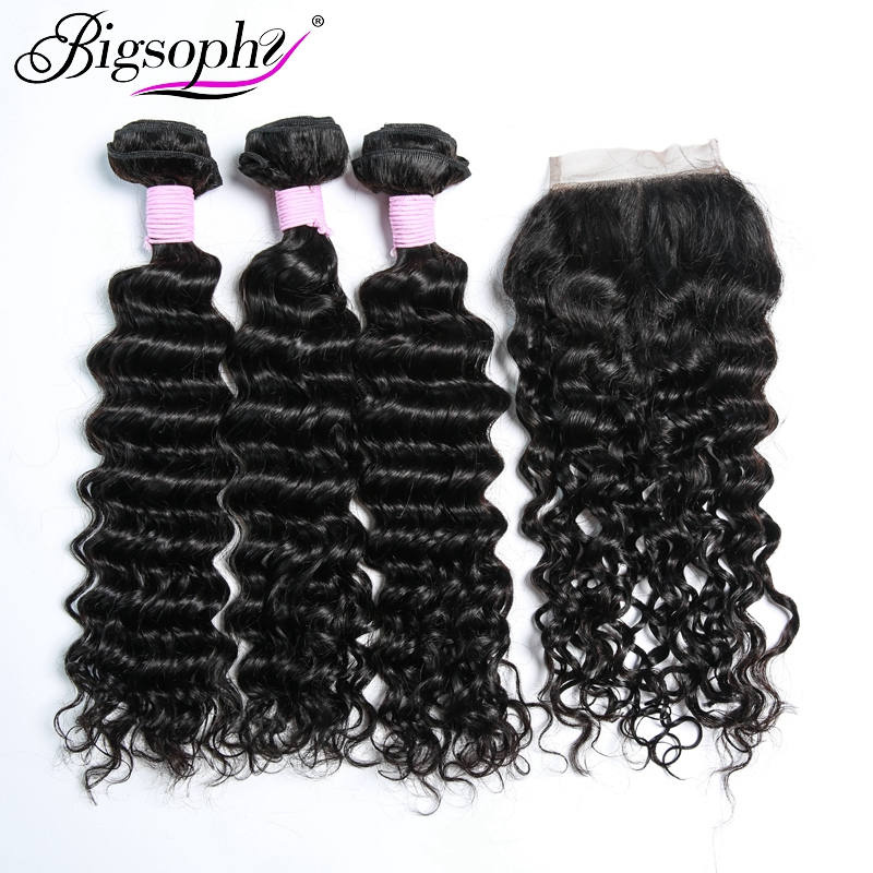 Bigsophy Peruvian Deep Wave Hair 3 Bundles With Lace Closure Baby Hair Free/Middle/Three Part 4pcs/Lot Human 100% Remy Hair