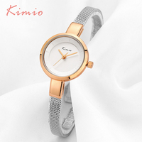 KIMIO Small Round Dial Woven Mesh Band Quartz Women Watch Famous Luxury Brand 2018 Simple Casual