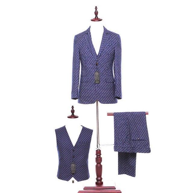 6069e38a8b7 New white striped lapel blue men s business office suits and men s prom dress  exquisite workmanship (jacket + pants + vest)