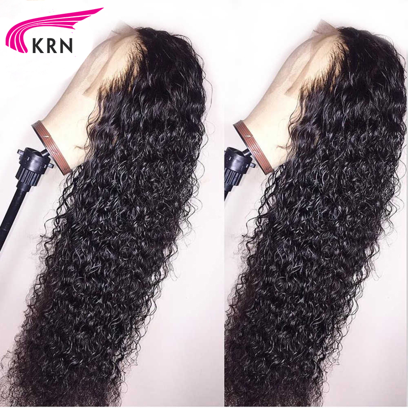 KRN Curly Human Hair Wigs With Baby Hair Bleached Knots Brazilian Remy Lace Frontal Wigs Pre-Plucked 130% 150% 180% Density