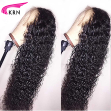 KRN Curly Human Hair Wigs With Baby Hair Bleached Knots Brazilian Remy Lace Frontal Wigs Pre-Plucked 130% 150% 180% Density цена
