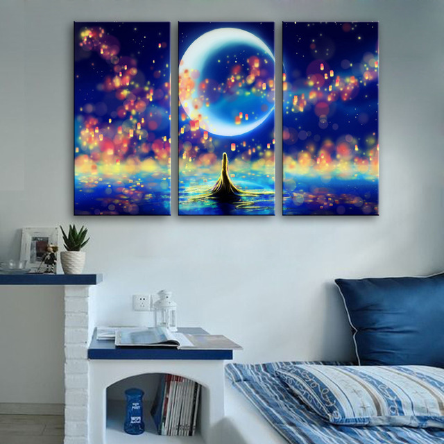 Free Shipping Stretched Canvas Prints Fantastic Sea View LED ...