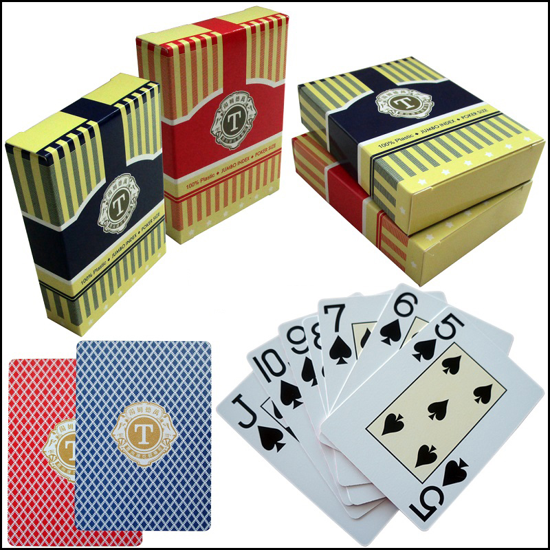 100% Plastic Cards Poker Red Texas Playing Card Poker Primary Waterproof 54 Blue Scrub Plastic Cards Deck Club Gambling Game