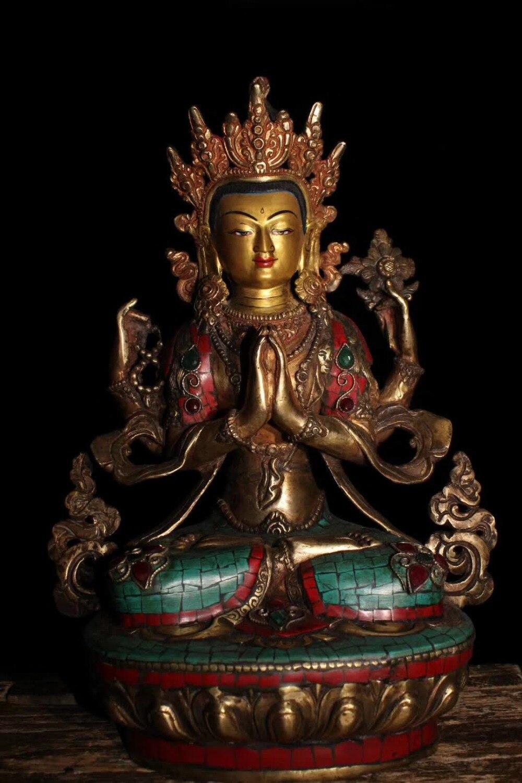 Vecchio Tibetano Tantrico Buddismo fatti a mano di rame puro intarsiato di pietre semi-preziose turchese Quattro braccia Dea della Misericordia sculturaVecchio Tibetano Tantrico Buddismo fatti a mano di rame puro intarsiato di pietre semi-preziose turchese Quattro braccia Dea della Misericordia scultura