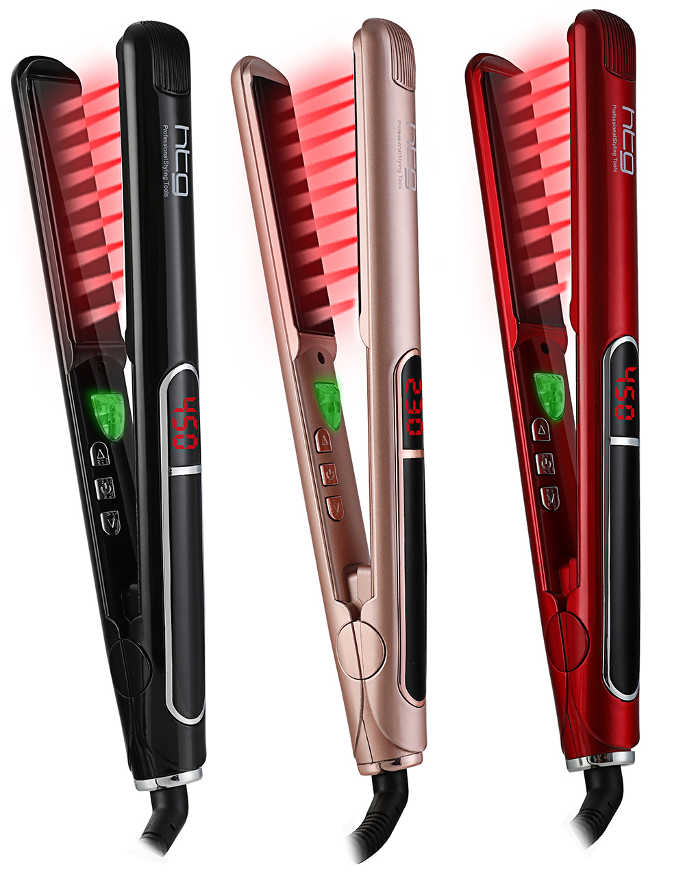 HTG Professional Hair Straightener with lONIC + Infrared Hair Straightener Straightening iron +LCD Display Hair Flat Iron HT087 titanium plates hair straightener lcd display straightening iron mch fast heating curling iron flat iron salon styling tools