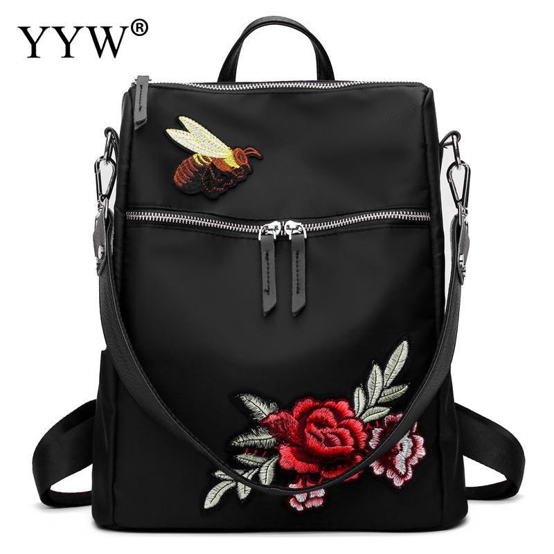 Women's Backpack Embroidered Knapsack School-Bag Floral-Print-Bag Teenagers Large-Capacity