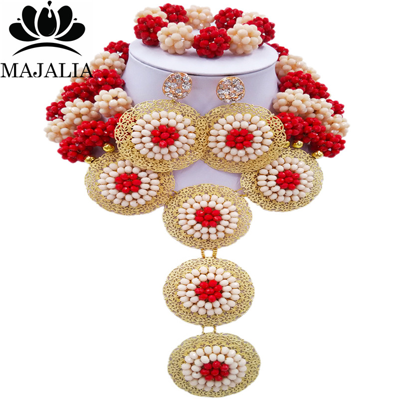 Majalia Fashion Nigeria Wedding African Beads Jewelry Set Beige and opaque red Crystal Necklace Bridal Jewelry Sets 3SP013Majalia Fashion Nigeria Wedding African Beads Jewelry Set Beige and opaque red Crystal Necklace Bridal Jewelry Sets 3SP013