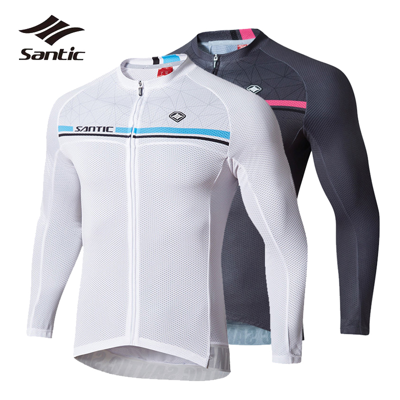 Santic Men Long Sleeve Cycling Jersey Spring Summer Breathable Road MTB Bicycle Jersey Maillot Ciclismo Anti-Pilling Bike Wear santic men s cycling hooded jerseys rainproof waterproof bicycle bike rain coat raincoat with removable hat for outdoor riding