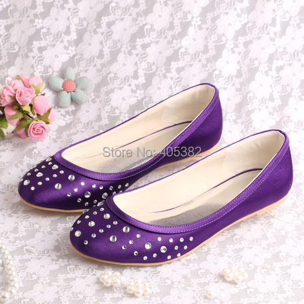 Wedopus Rhinestone Women Fashion Classy Ballet Flats Wedding Shoes 2016 Purple Satin In Womens From On Aliexpress