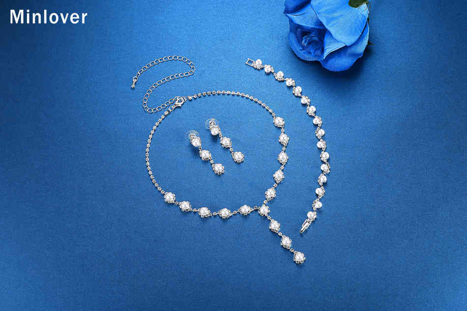 Minlover Floral Simulated Pearl Bride Wedding Jewelry Sets Simple Crystal Necklace Earrings Bracelets Sets for Women TL059+SL077 6