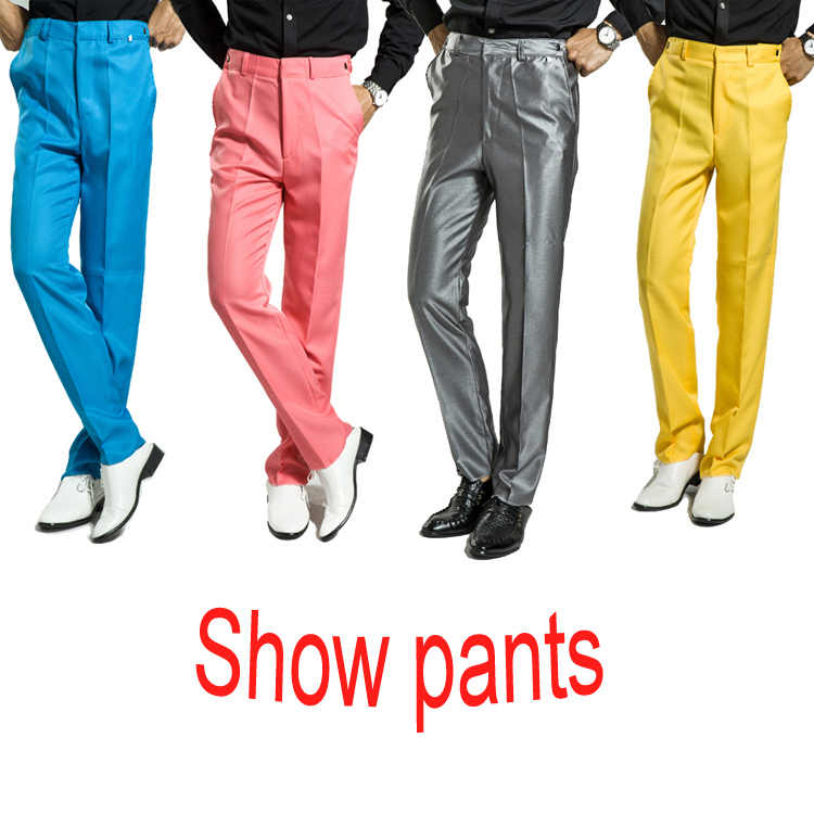 free shipping 2016 costume pantalon homme mens stage dress pants adjustable show long pants black white blue yellow red green