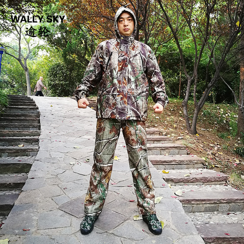 Bionic Camouflage Hunting Clothes Tactical Camo Jacket + Pants Set Waterproof Breathable Ghillie Suit Hooded fishing hunting camo hidden tactical pants trousers biomimicry jungle amouflage pants leaves wearable durable camouflage pants