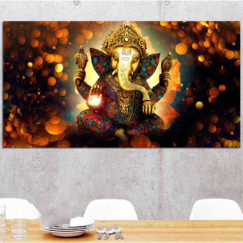 كبيرة لوحات قماش يطبع شيفا الهند الرب الفيل الدين بوذا اللوحة الجدار صورة فنية لغرفة المعيشة ديكور المنزل
