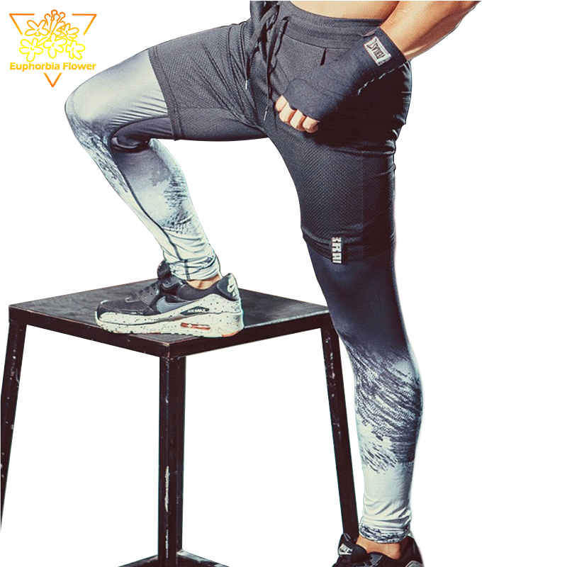 SY95016 Men's 2 in1 Sports Printed Running Pants Football Basketball Gym Fitness Bottom Indoor and Outdoor Training Pants 4/5